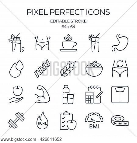 Weight Loss, Healthy Nutrition And Calorie Counting Related Editable Stroke Outline Icons Set Isolat