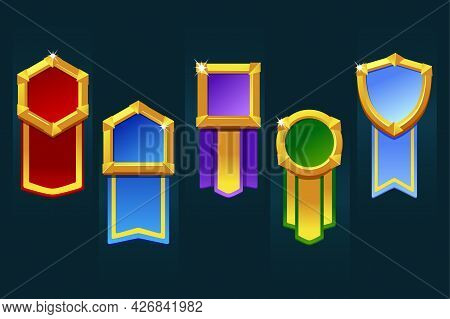 Award Badge For Game Resources, Various Forms Medallion With Ribbon For Ui.