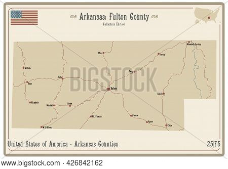Map On An Old Playing Card Of Fulton County In Arkansas, Usa.