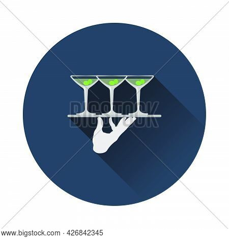 Waiter Hand Holding Tray With Martini Glasses Icon. Flat Circle Stencil Design With Long Shadow. Vec