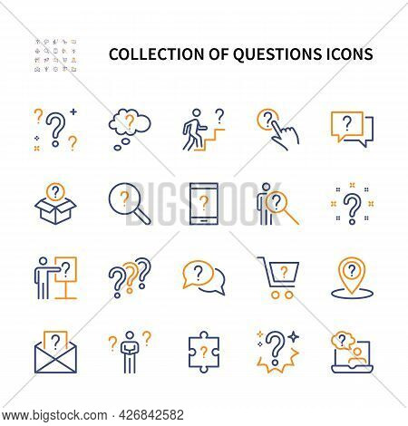 Questions And Reason, Vector Linear Colored Icons Set. Inquiry And Problem. Isolated Collection Of Q