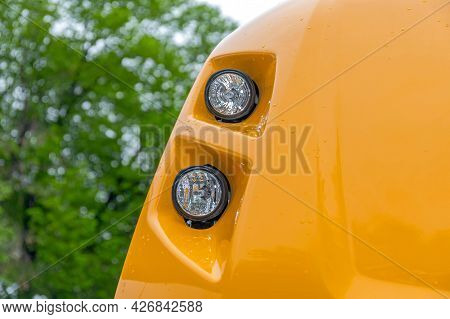 Two Halogen Lights At Construction Machine Vehicle