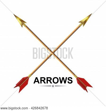 Drawing Arrows Drawn Obliquely, Golden Tip, Design Component.