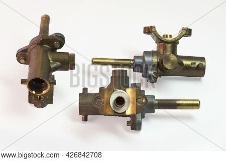 Brass Surface Burner Valves From Three Sides. Gas Stove Spare Parts. On White Background, With Clipp