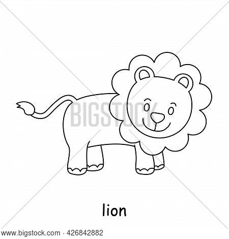 Children Coloring On The Theme Of Animal Vector, Lion
