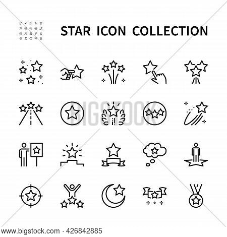 Stars Vector Line Icons. Isolated Icon Collection Of Star On White Background. Vector Symbol Set Of