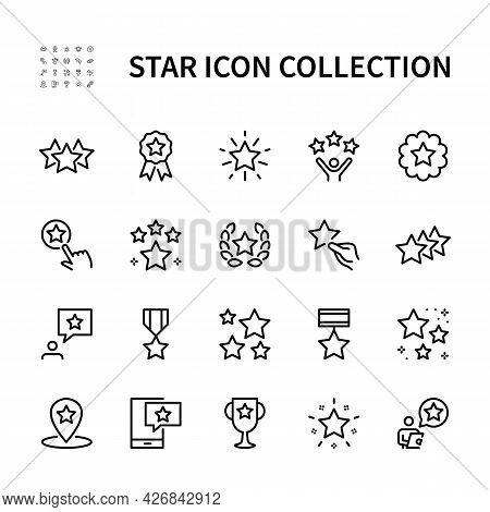 Stars Vector Line Icons. Isolated Icon Collection Of Star On White Background. Symbol Vector Set Of