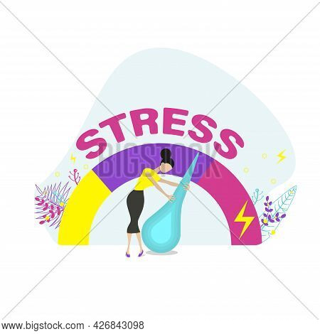 Relieve Stress.  Emotional Overload And Burnout Concept. Flat Vector Illustration.
