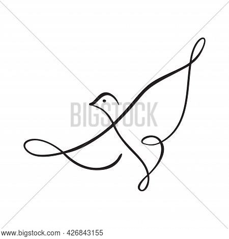 Continuous One Line Drawing Bird. Flying Pigeon Logo. Black And White Vector Illustration. Concept F