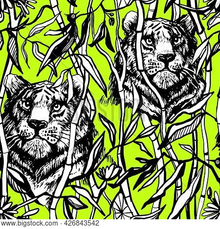 Tiger And Lion Seamless Pattern. Exotic Jungle Green Background With Drawn Tropical Bamboo Leaves An