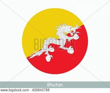 Bhutan Round Circle Flag. Bhutanese Circular Button Banner Icon. Eps Vector