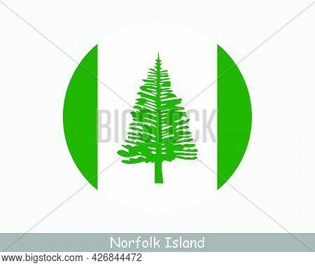 Norfolk Island Round Circle Flag. External Territory Of Australia. Australian External Territory. Ci