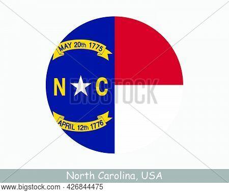 North Carolina Round Circle Flag. Nc Usa State Circular Button Banner Icon. North Carolina United St