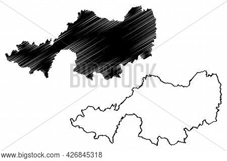 Lindau District (federal Republic Of Germany, Rural District Swabia, Free State Of Bavaria) Map Vect