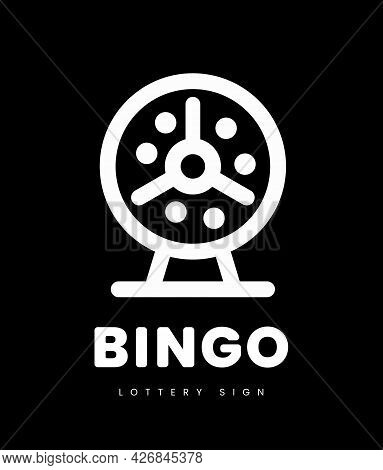 Lottery Bingo With Machine And Lottery Balls Inside. Vector Illustration On Black