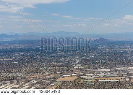 Aerial View Of Near Mountain Range Peak In Phoenix, Arizona Us