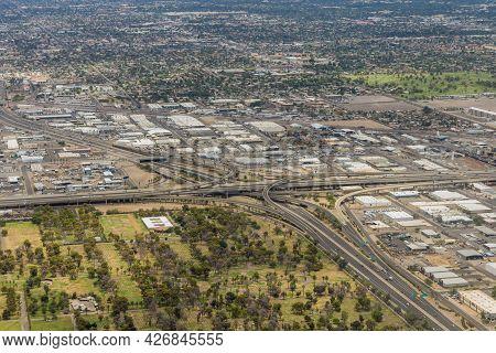Aerial View Of The Mini Stack Interchange In Phoenix, Arizona Us