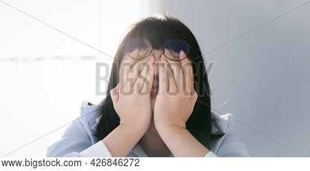 Glasses Asian Thai - Chinese Woman Is Shying And Crying Face Behind Her Hand. Shied Concept.