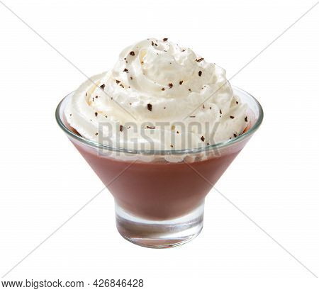 Milk Chocolate Pudding With Whipped Cream In A Ice Cream Bowl, Isolated On A White Background. Close