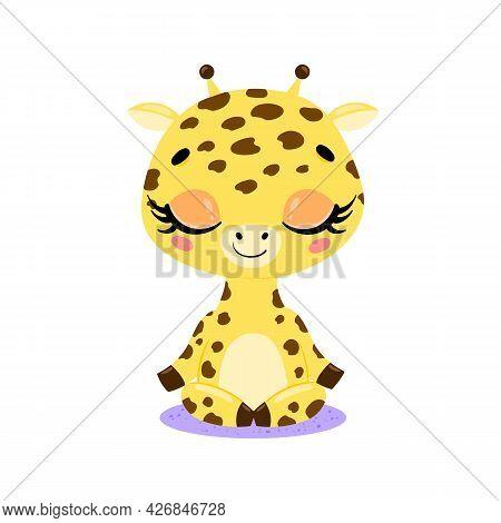 Vector Flat Cute Cartoon Doodle Giraffe Meditation. Tropical Jungle Safari Animals Meditate. Animals