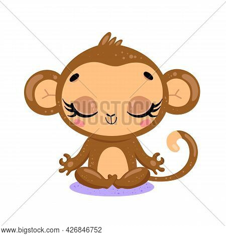Vector Flat Cute Cartoon Doodle Monkey Meditation. Tropical Jungle Safari Animals Meditate. Animals