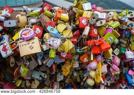 Seoul, South Korea - 1 June 2014, The Lock Are Hung Together By The Lovers At N Seoul Tower In 1 Jun