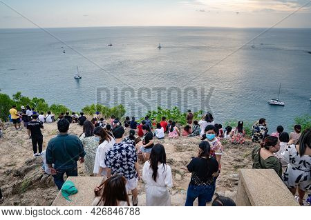 Phuket, Thailand - 12 Apr 2021, The Environment Of The People At Laem Phrom Thep Or Phrom Thep Cape,