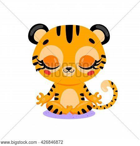 Vector Flat Cute Cartoon Doodle Tiger Meditation. Tropical Jungle Safari Animals Meditate. Animals Y
