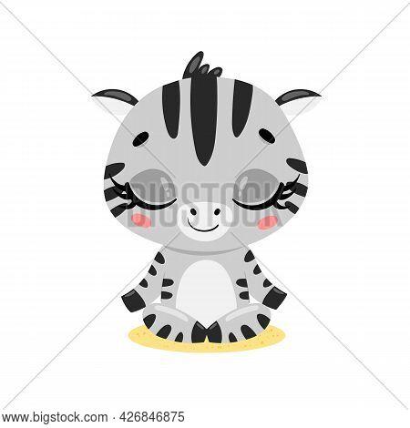 Vector Flat Cute Cartoon Doodle Zebra Meditation. Tropical Jungle Safari Animals Meditate. Animals Y