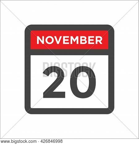 November 20 Calendar Icon W Day Of Month