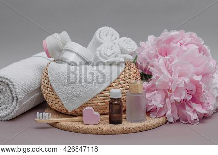 Bathroom Accessories On The Table, Towels, White Towels For Face And Body, Toothbrush, Cosmetic Set,