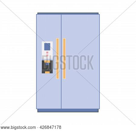 Household Two-compartment Refrigerator And Freezer For Storing Food In Blue. Vector Icons In Flat St