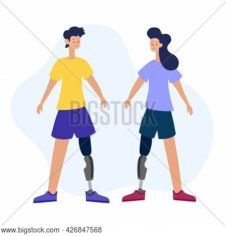 Vector Illustration Of People With Disabilities In A Cartoon Style. A Disabled Person With A Prosthe