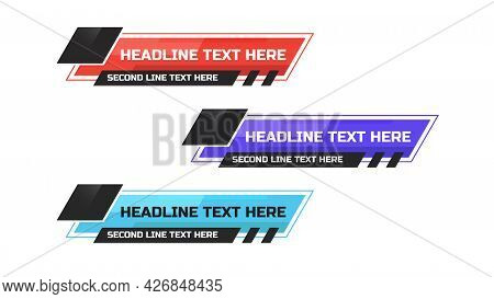 News Lower Thirds Pack. Sign Of Live News, Ultra Hd. Banners For Broadcasting Television Video Templ
