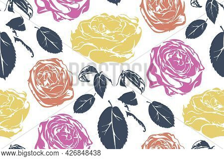Vintage Seamless Floral Pattern With Stylized  Roses On White  Background. Vector Illustration.
