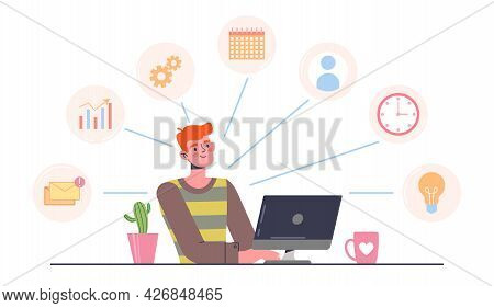 Multitasking Concept. A Person Sits At A Computer At The Workplace And Performs Several Tasks Simult