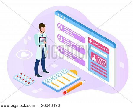 Study Of The Patients Case. Doctor Stands Next To The Medical Card Of Patients, Reads Complaints And