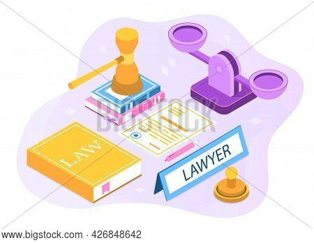 Law And Justice Concept. Lawyer Office Workplace With Judge Gavel, Scales Of Justice, Legal Books An