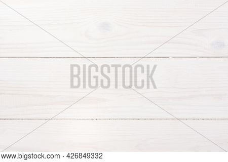 White Wooden Background Top View. The Texture Of Painted Pine Wood For Layouts, Designs, Posters, Wa