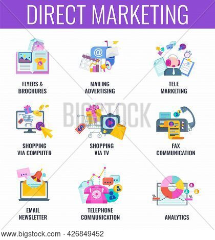 Direct Marketing. Email, Mailing Advertising, Catalog And Telemarketing.