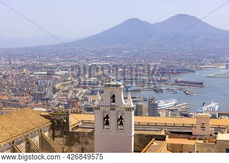 Naples; Italy - June 27; 2021: View Of The City And Certosa Di San Martino From Castel Sant'elmo. Vo