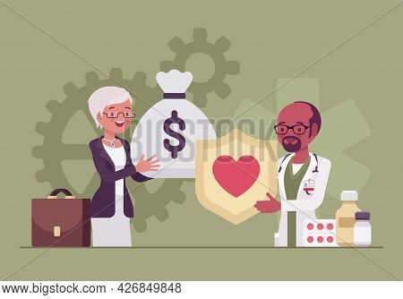 Hospital Trustee Giving Money To Administrator For Financial Health, Stability. Female Member Of Boa