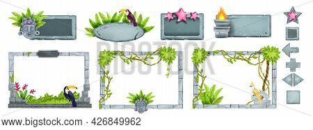 Jungle Stone Game Ui Frame Set, Ancient Rock Vector Sign Board, Gray Boulder Buttons, Toucan, Tropic