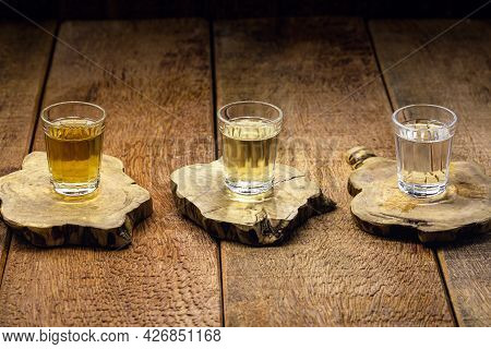 Cups Of Cachaça, A Brazilian Drink Made From Sugar Cane, A Brazilian Run Popularly Called