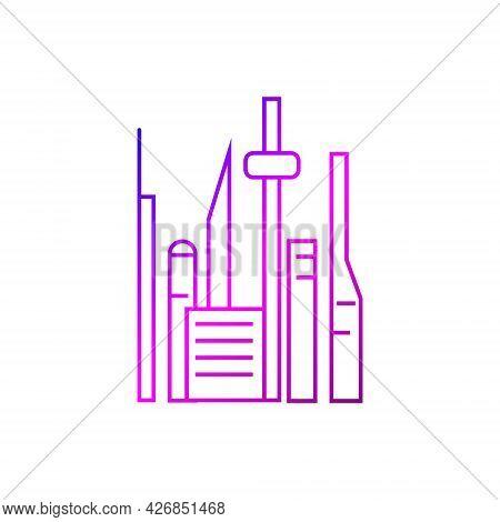 Cyberpunk Futuristic City With Skyscrapers Outline Icon. Futuristic City. Gradient Linear Purple Con