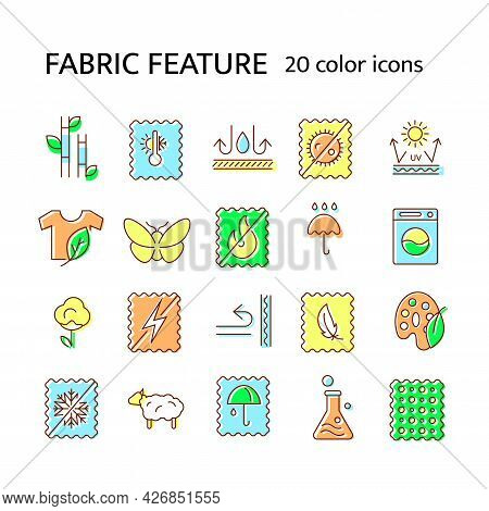 Fabric Feature Flat Icon. Material Quality. Fiber Type. Textile Industry. Bamboo, Wool. Insect Resis