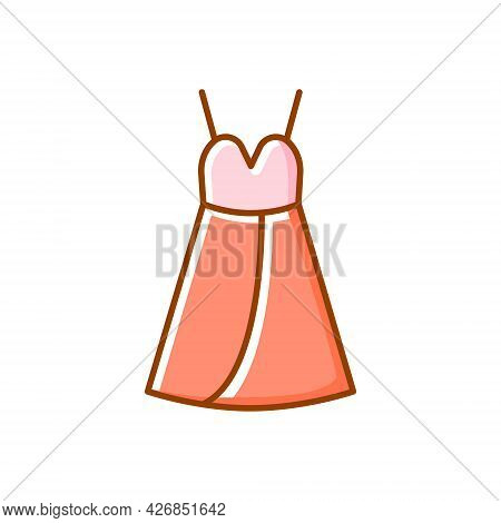 Female Home Dress Flat Icon. Baby Doll Style. Homewear And Sleepwear. Color Filled Symbol. Isolated