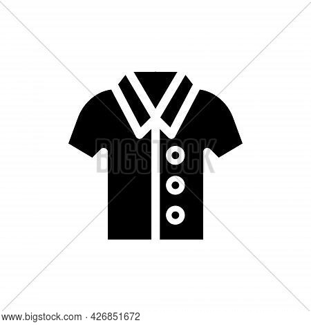 Classic Short-sleeved Shirt Glyph Icon. Homewear And Sleepwear. Black Filled Symbol. Isolated Vector