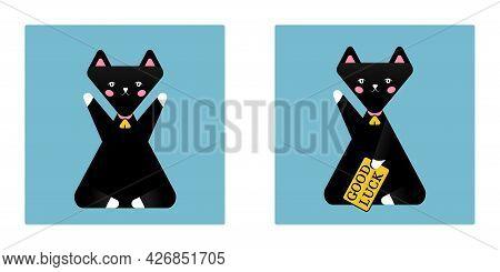 Good Luck Japan Symbol Maneki Neko Black Cat Icon, Cute Hands Up Sitting Cat Japanese Style Vector I