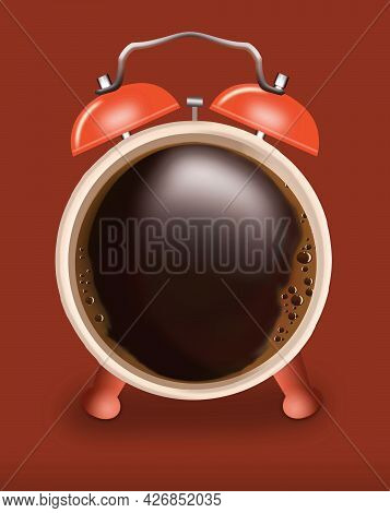 A Cup Of Coffee Looks Like An Alarm Clock In This 3-d Illustration About Waking Up With A Cup Of Cof